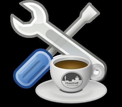 Symbolbild für Repaircafé: Kaffeetasse auf Untertasse mit Chaostreff Dortmund Logo und dahinter gelagert x verkreutzte Schraubendreher und Schraubenschlüssel
